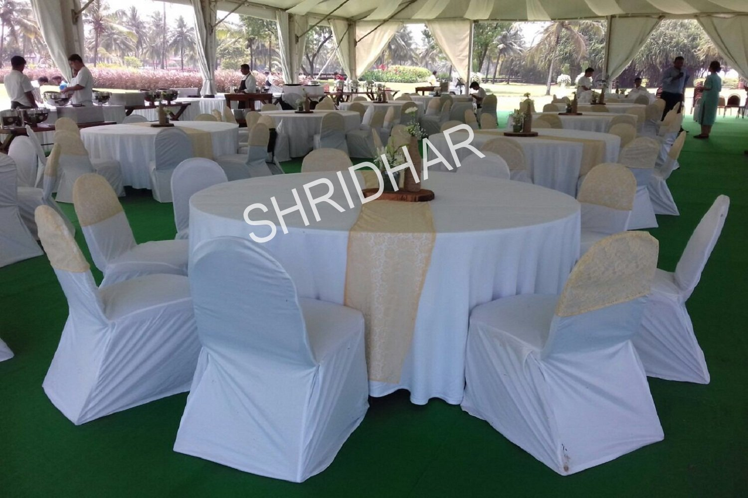 round tables and chairs with cloth covering for rent for wedding functions in bangalore shridhar tent house